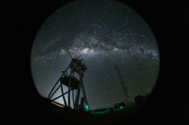 Fish eye view of the night at the ESO's Astronomical Site Monitor on Cerro Armazones in the Chilean desert, near ESO's Paranal Observatory, site of the Very Large Telescope (VLT). Cerro Armazones was chosen as the site for the planned European Extremely Large Telescope (E-ELT), which, with its 40-metre-class diameter mirror, will be the world's biggest eye on the sky.